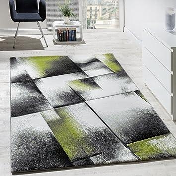 Wunderbar Paco Home Designer Teppich Wohnzimmer Teppiche Kurzflor Meliert Grün Grau  Creme Schwarz, Grösse:70x140