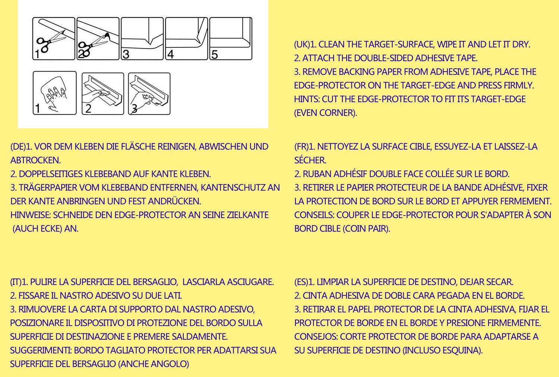 5 Meter L-f/örmige Tischkantenschutz extra verdicken Baby Sicherheit Schwamm Kissen Schutzkanten Sto/ßschutz f/ür Tisch und M/öbel Kanten Kindersicher Tischkante Baby-Sicherheits-Tabellen-Schreibtisch-Edge-Corner Ladekant Kantenschutz