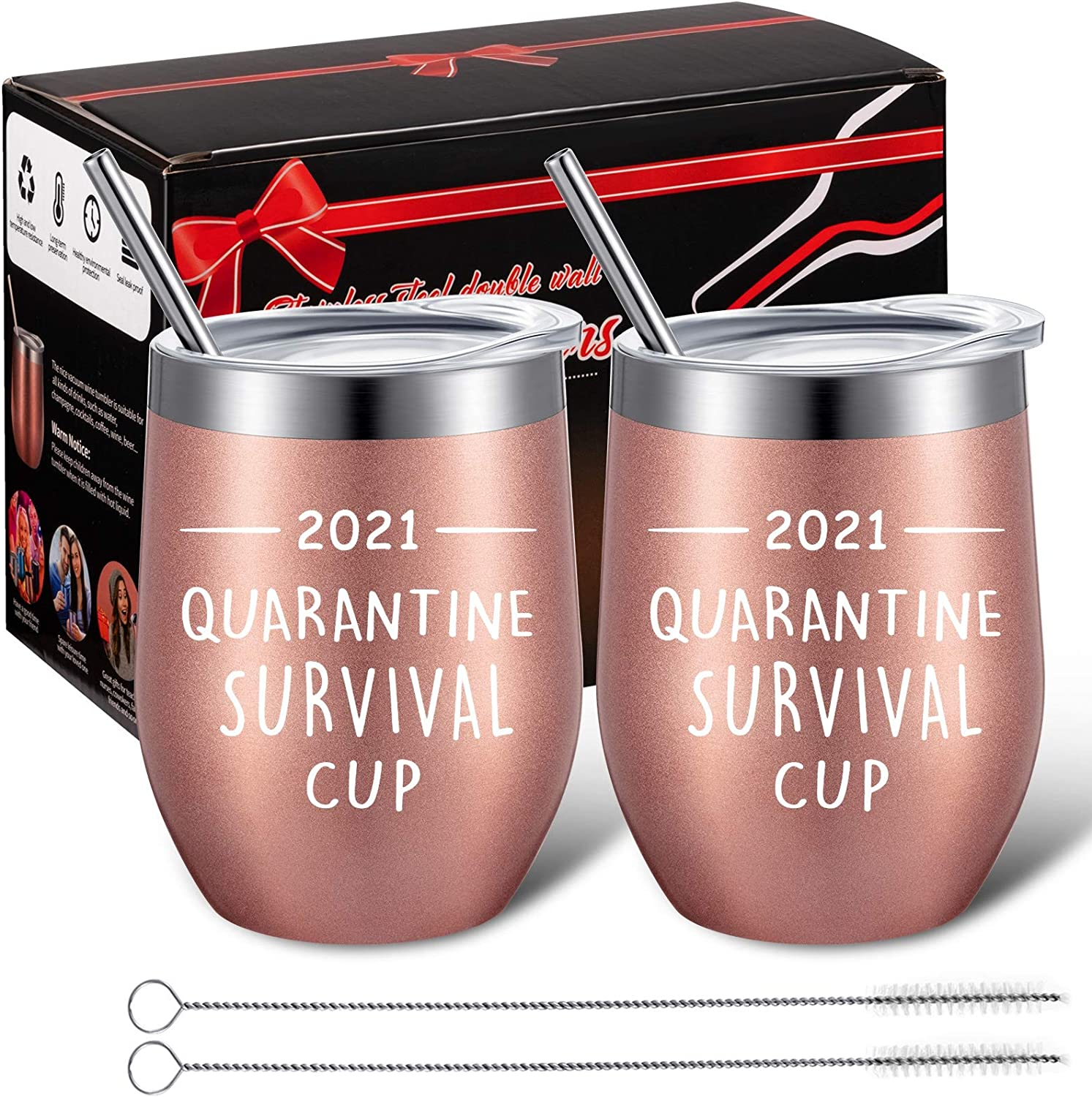 2 Packs 2021 Quarantine Survival Cup Funny Stay at Home Gifts Coffee Mug, Graduation Appreciation Present for Friends, Teachers, Coworkers, 12 oz Vacuum Insulated Wine Tumbler with Lid (Rose Gold)