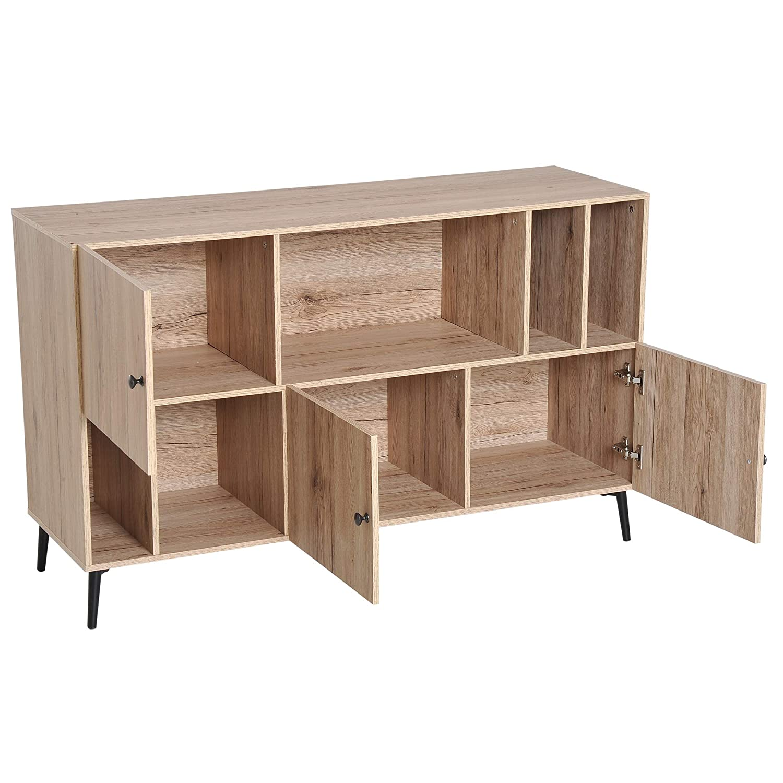 HOMCOM Retro Wooden Cabinet Storage Sideboard Scandinavian Style Bookcase Shelf Organiser Metal Leg 120 x 39 x 74 cm Oak