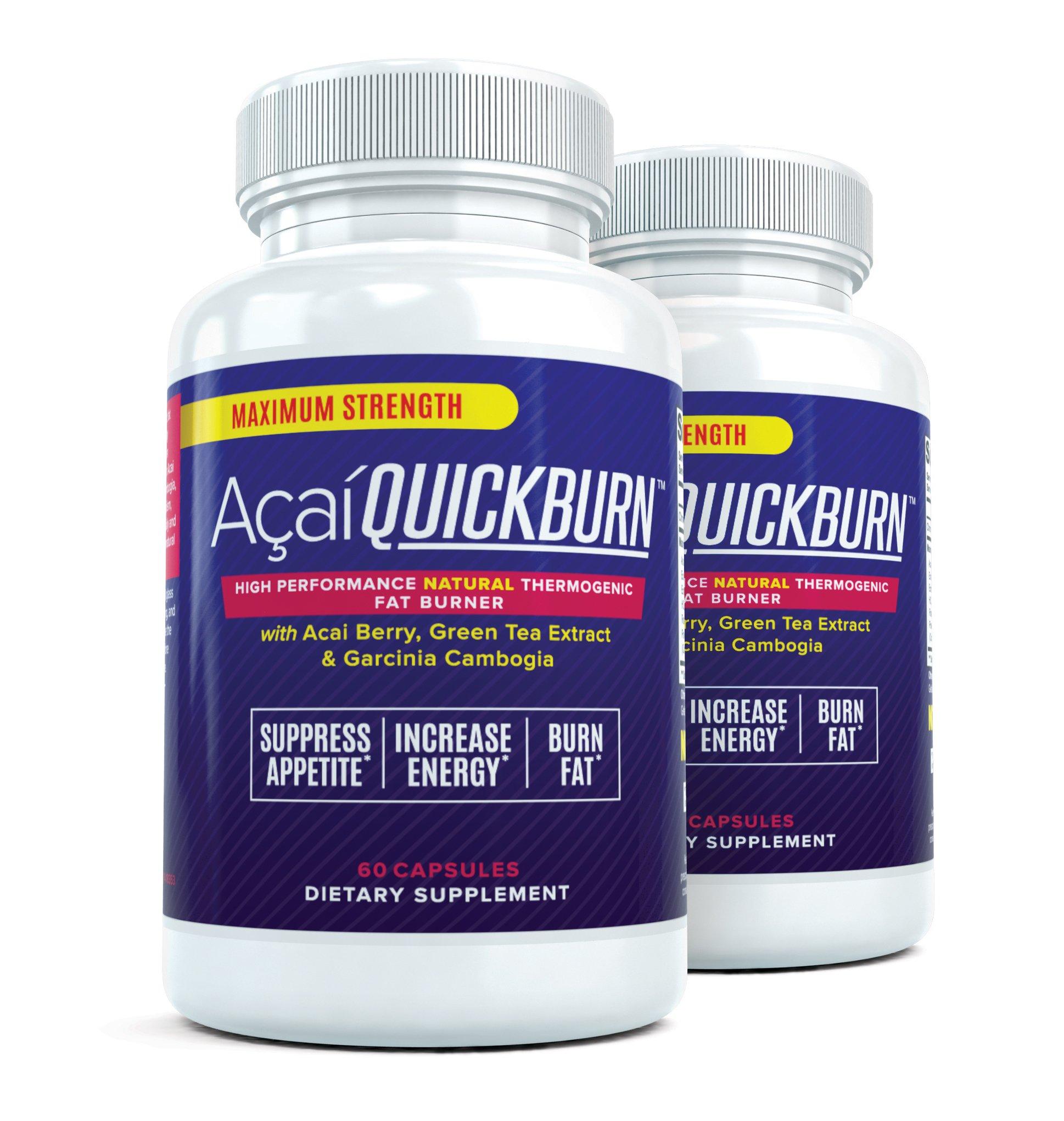 ACAI QUICK BURN (2 Bottles) High Performance Multi-Stage Fat Burner with Acai Berry & Garcinia Cambogia - 60 Capsules per Bottle