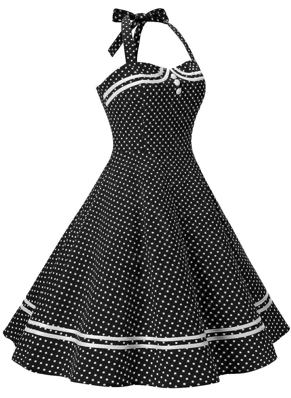 Timormode Women 50s Vintage Short Halter Cocktail Dress with Buttons