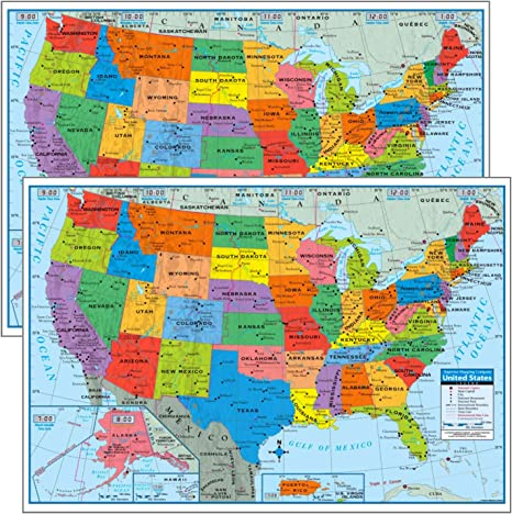 Pack of 2 Superior Mapping Company United States Poster Size Wall Map 40\