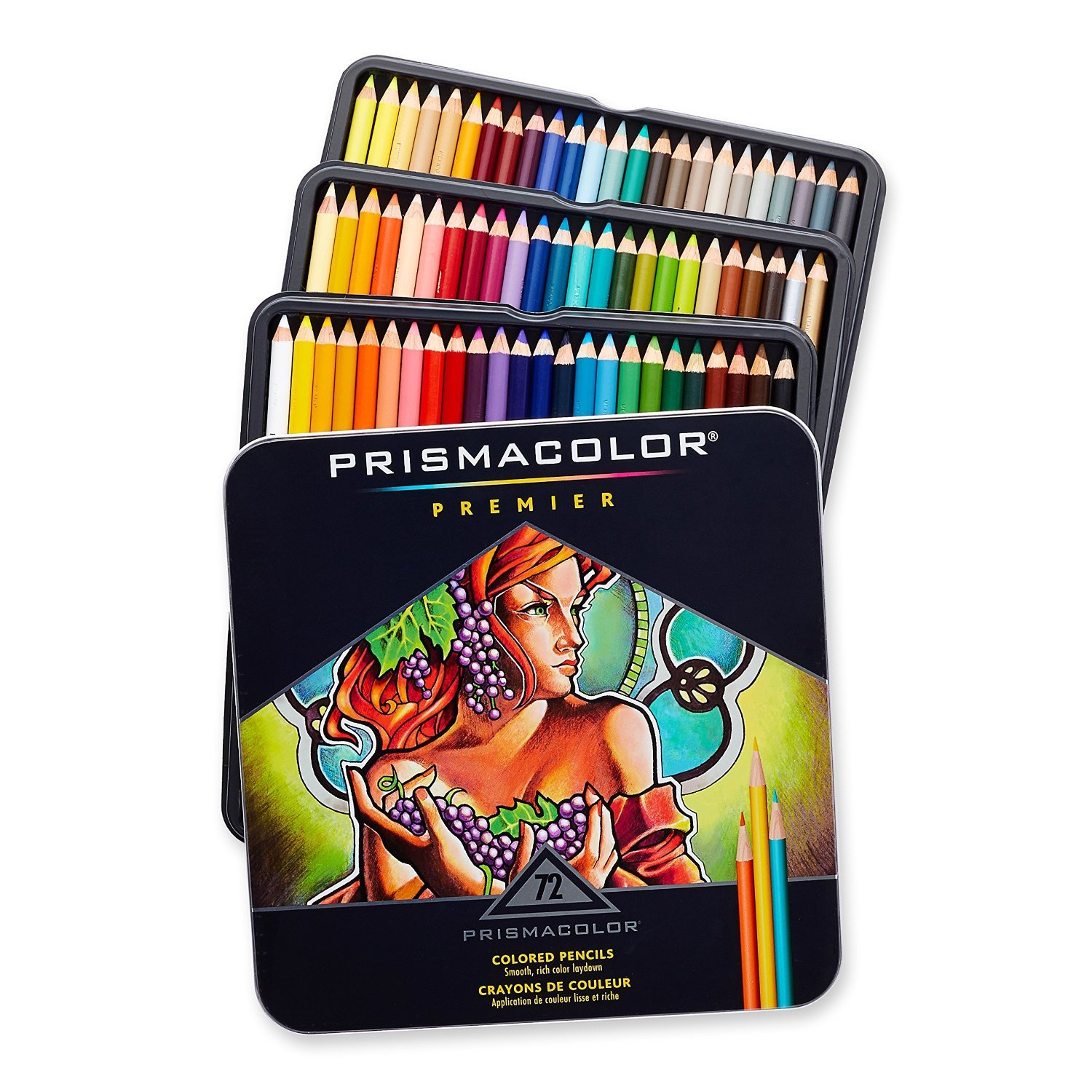 Prismacolor 3599TN Premier Soft Core 72 Colored Pencils + 1774266 Scholar Colored Pencil Sharpener; Perfect for Layering, Blending and Shading; Soft, Thick Cores Create a Smooth Color Laydown by Prismacolor (Image #1)