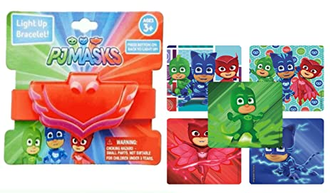 Pj Masks Girls Light Up Rubber Wristband Bracelet In Red Feaurting Owlettes Logos! Plus Bonus