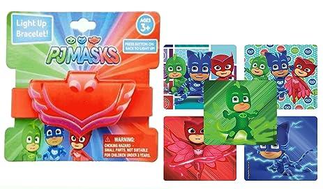 Pj Masks Girls Light Up Rubber Wristband Bracelet In Red Feaurting Owlettes Logos! Plus Bonus