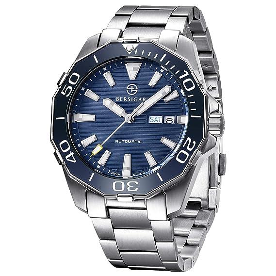 nuovo stile 3f4b3 33c61 BERSIGAR BG-1617 Migliori orologi automatici da uomo - Orologio da uomo  casual in acciaio inossidabile con quadrante nero impermeabile per uomo
