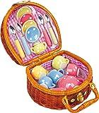 Toy tea set dolls & teddy bears polkadot porcelain tea set wicker basket by Small Foot Designs