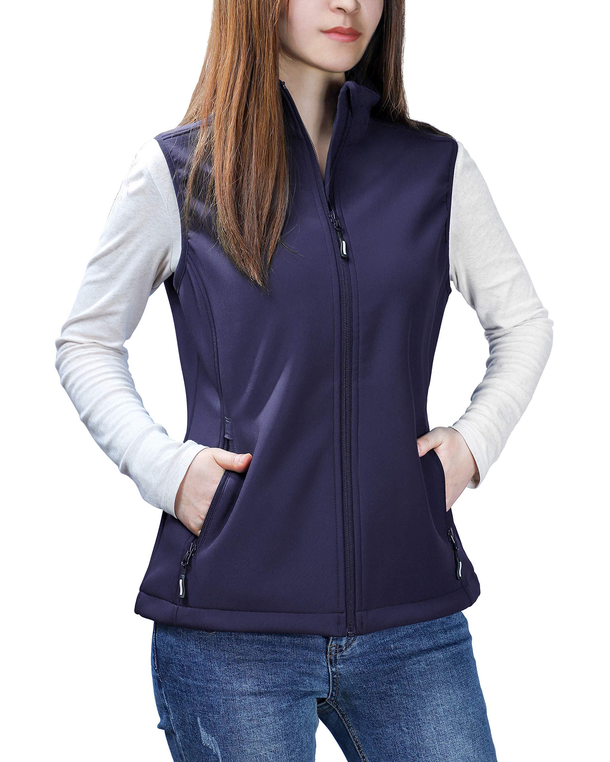 Outdoor Ventures Women's Mia Lightweight Sleeveless Fall Windproof Soft Bonded Fleece Softshell Zip Vest Deep Purple by Outdoor Ventures