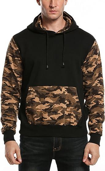 Mstyle Mens Full-Zip Slim Casual Fall Winter Hoodie Camouflage Hoodie Sweatshirts Jacket Coat