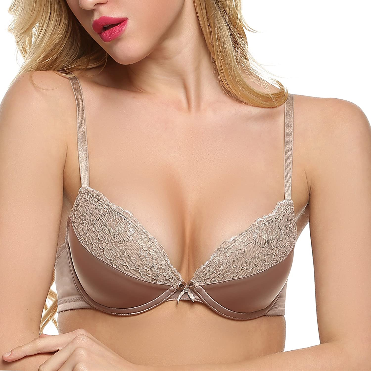 25b947fec Ekouaer Women s Lace Padded Underwire Demi Plunge Push Up Bra 32A-38D   Amazon.ca  Clothing   Accessories