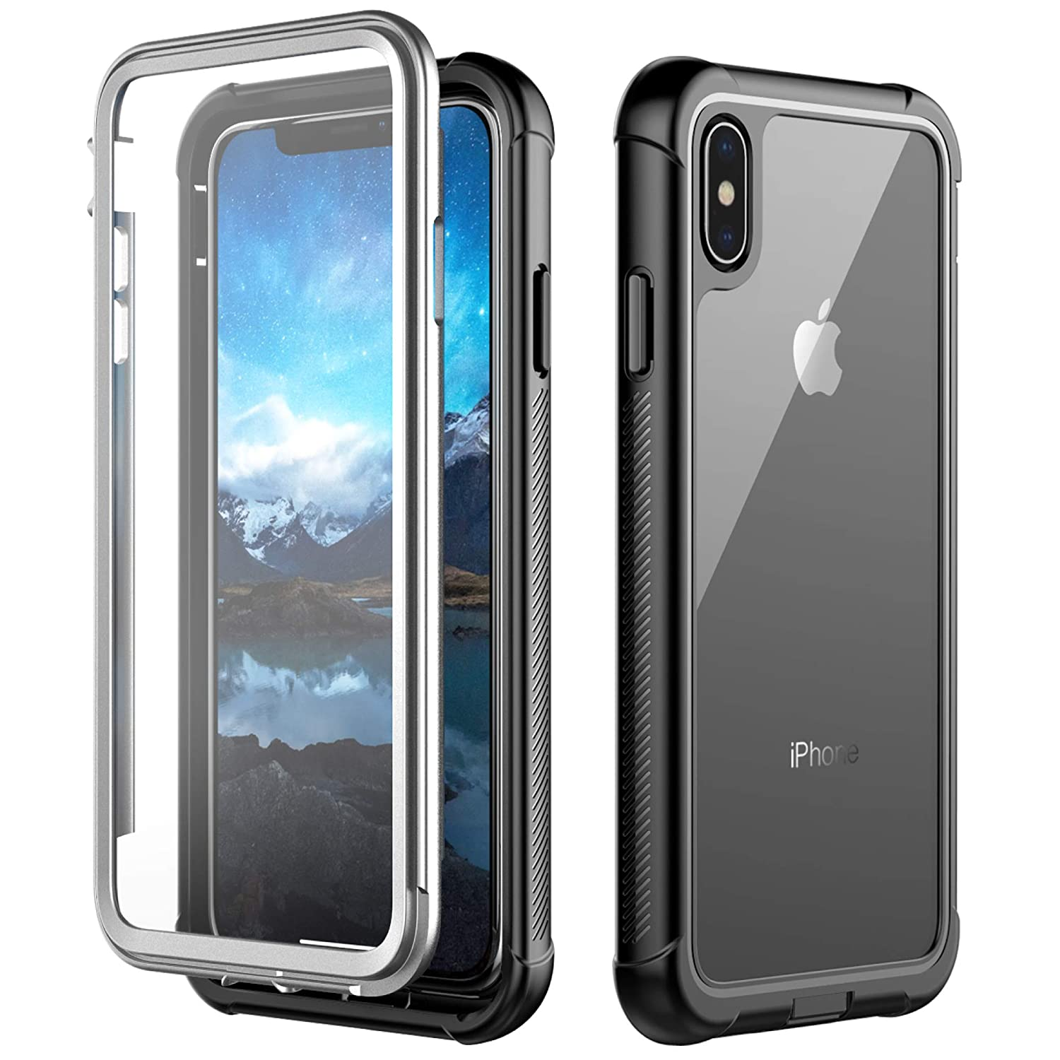 size 40 6fc53 1e0b5 iPhone Xs Max Case, Singdo Built-in Screen Protector Cover 360 Degree  Protection Rugged Clear Bumper Case Compatible with iPhone Xs Max 2018  Released ...