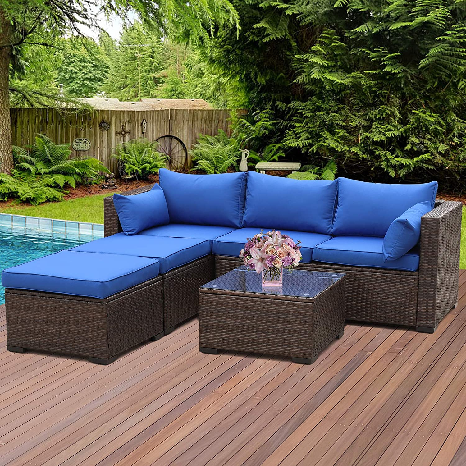 Outdoor Sectional Sofa Set 4-Piece 6-Seater Brown PE Wicker Patio Conversation Furniture Couch with Royal Blue Cushion, 2 L-shaped Loveseats and Ottomans, Multi-purpose tempered glass Coffee Table