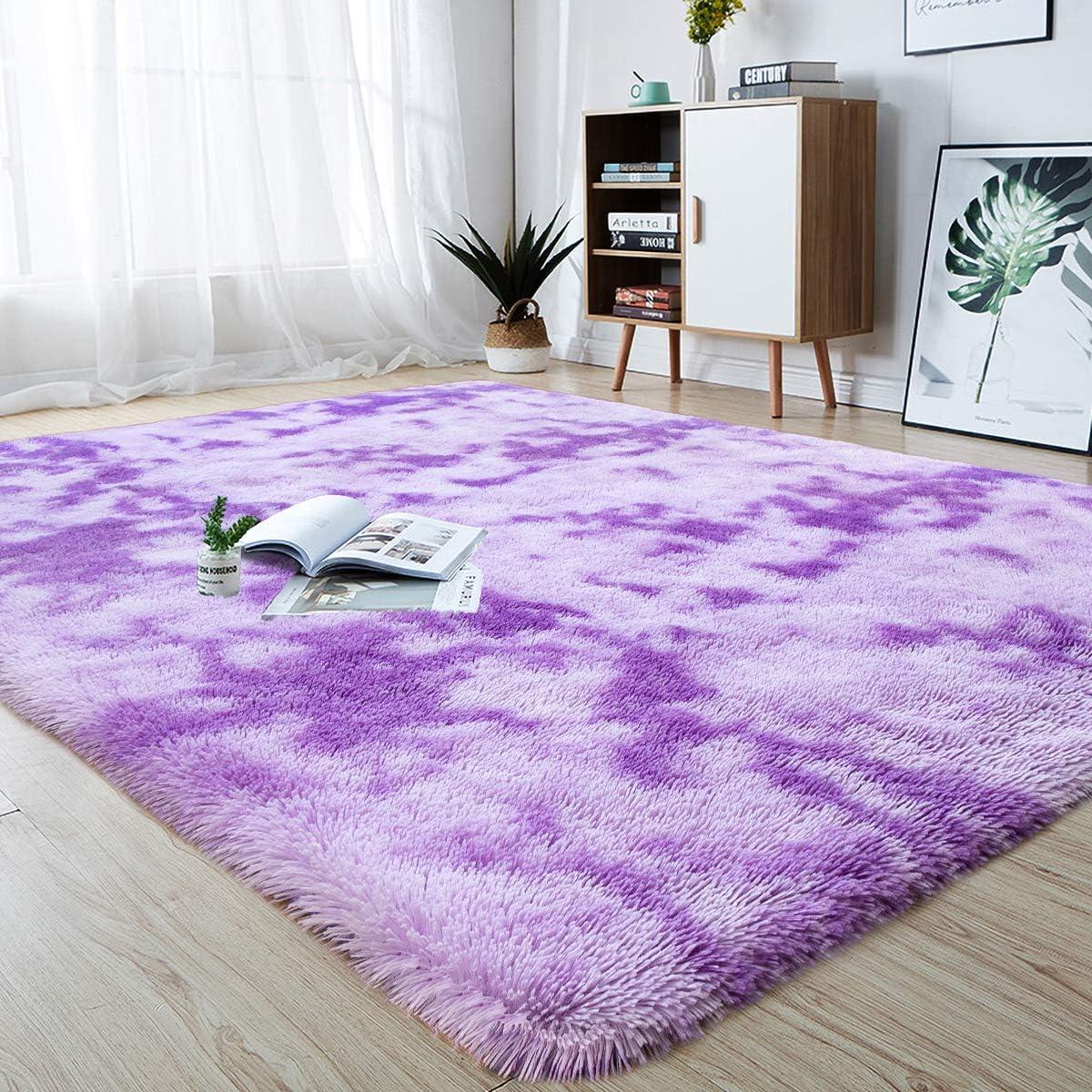 junovo Modern Abstract Shaggy Area Rugs Fluffy Soft Bedroom Rug for Kids Nursery Girls Boys Ultra Comfy Shag Fur Carpets Nursery Room Living Room Furry Decor Rugs, 4 ft x 6 ft, Purple