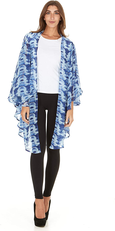 Laundry By Shelli Segal Women Loose Cold Shoulder Kaftan Kimono Cardigan Cape