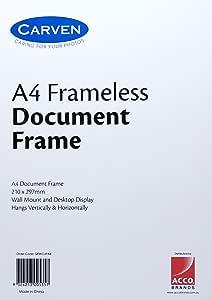 CARVEN QFWCLIPA4 Document Frame, Frameless Glass A4