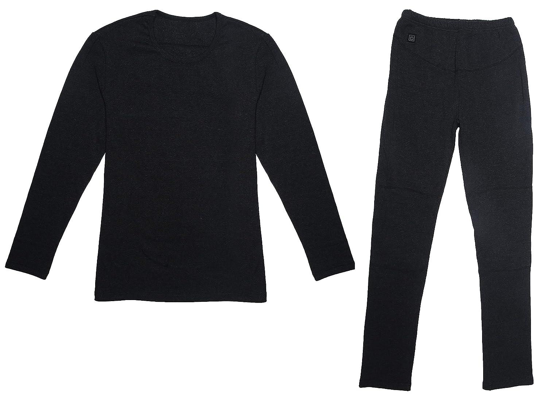 Vivienda Heated Underwear for Women, Li-Po 7.4V2200mAh, Dual Li-Po Charger Factory Direct (L Black WU01P