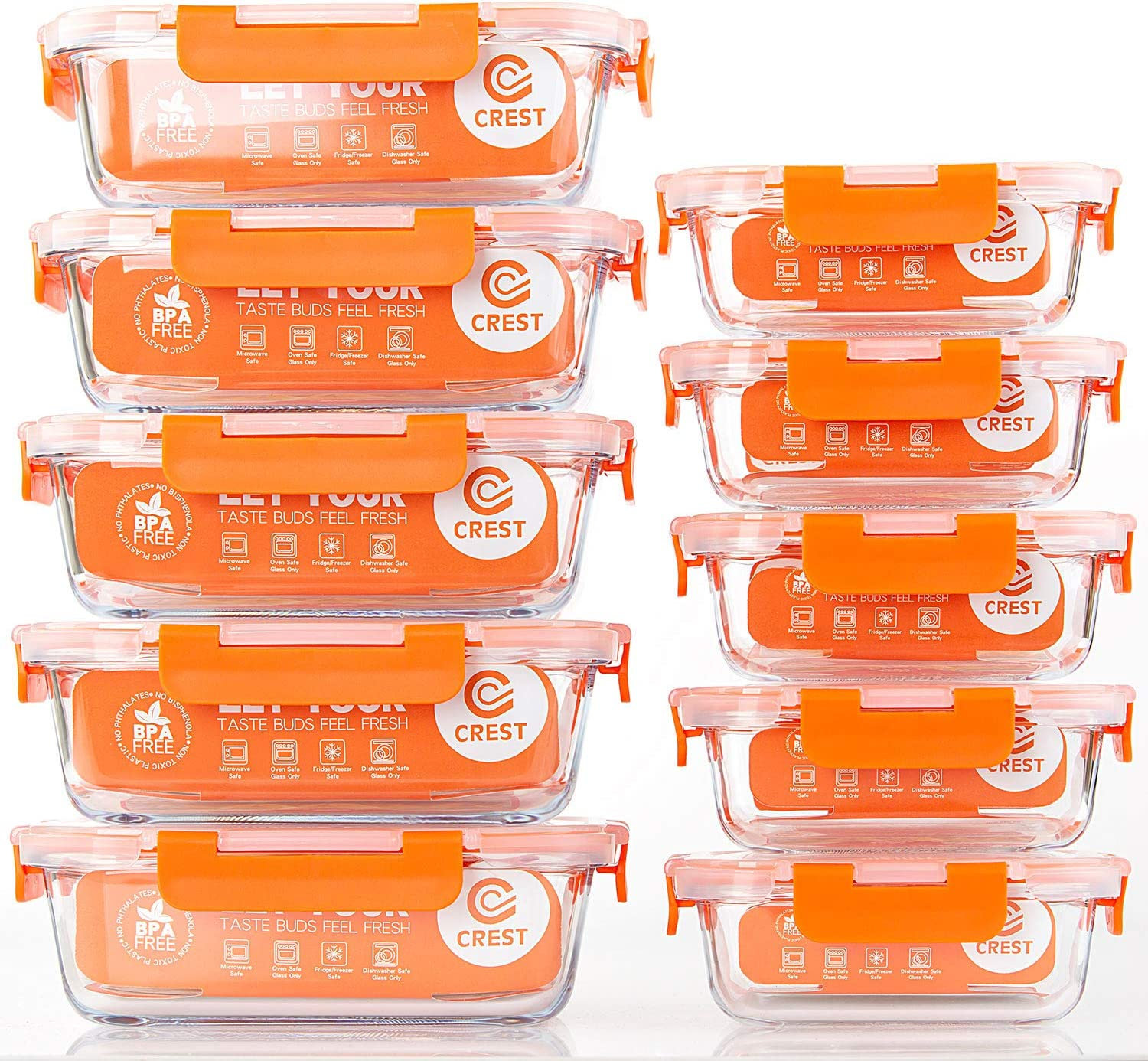 [10-Pack] Glass Food Storage Containers - Food Prep Containers with BPA Free Lids - Microwave, Oven, Freezer and Dishwasher Safe