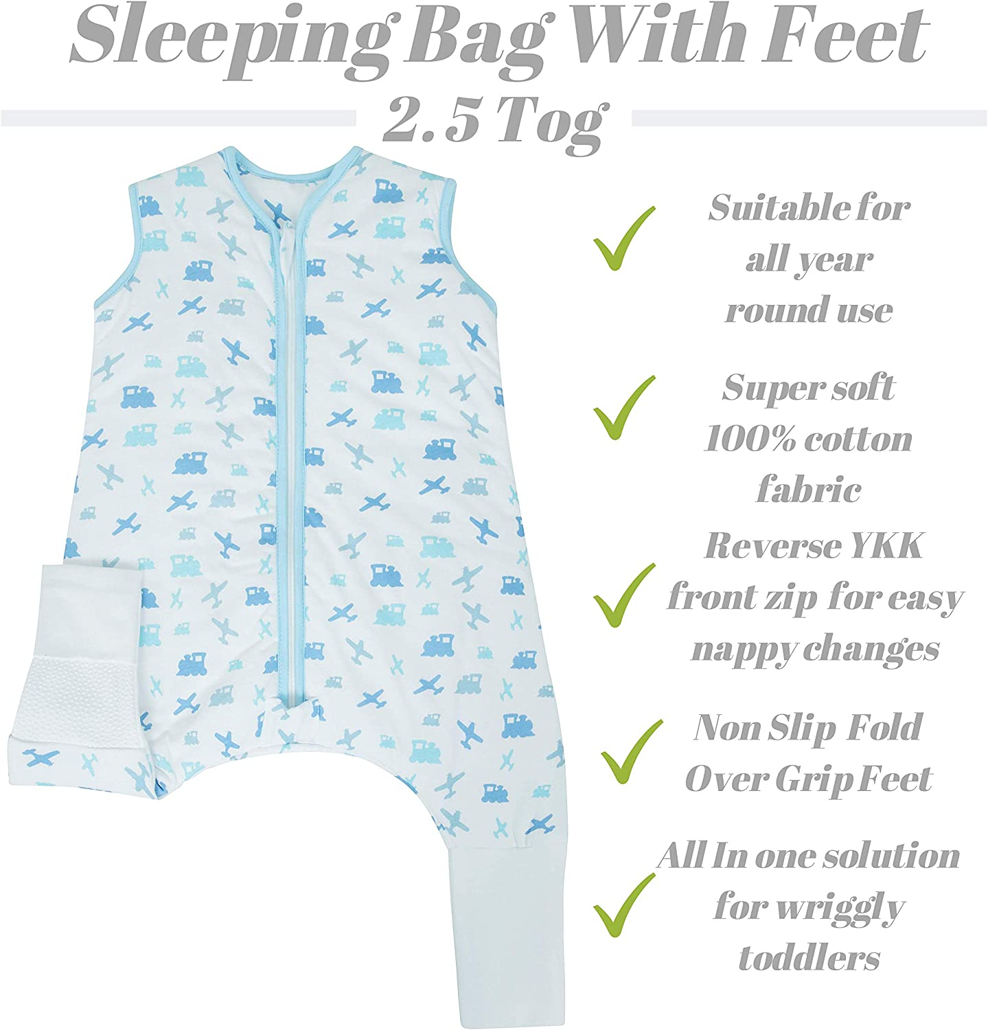 100/% Cotton Unisex Nursery Toddler Child Sleep Bag Planes and Trains 2-3 Years Snoozebag Baby Sleeping Bag with Legs and Non Slip Fold Over Grippy Feet Romper Jumpsuit 2.5 Tog