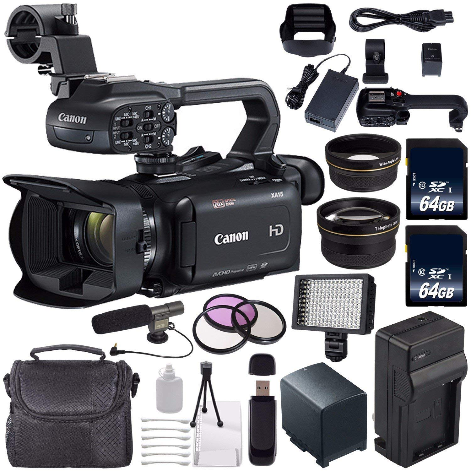 Canon XA11 Compact Full HD ENG Camcorder #2218C002 + 64GB Memory Card + BP-820 Replacement Lithium Ion Battery Bundle 3 by Canon