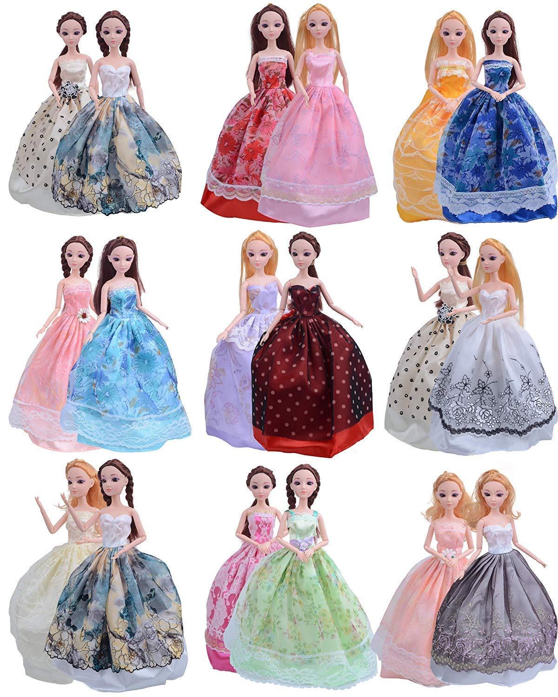 EtechMart リカちゃん ドレス バービー 服 着せ替え 人形用 プリンセスドレス ロングスカート 手作り ランダム5枚セット