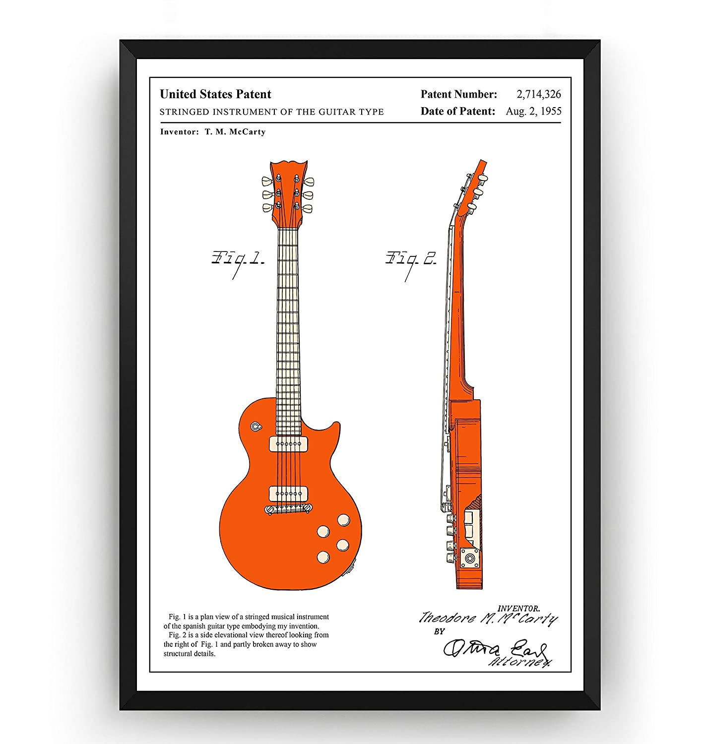 Les Paul 1955 Guitarra Poster de Patente - Colour Electric Guitar ...