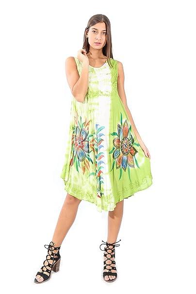 0813343770 Village Venture-Vestidos De Mujer con Estampado Floral Ideal para Playa  1407 (Verde)