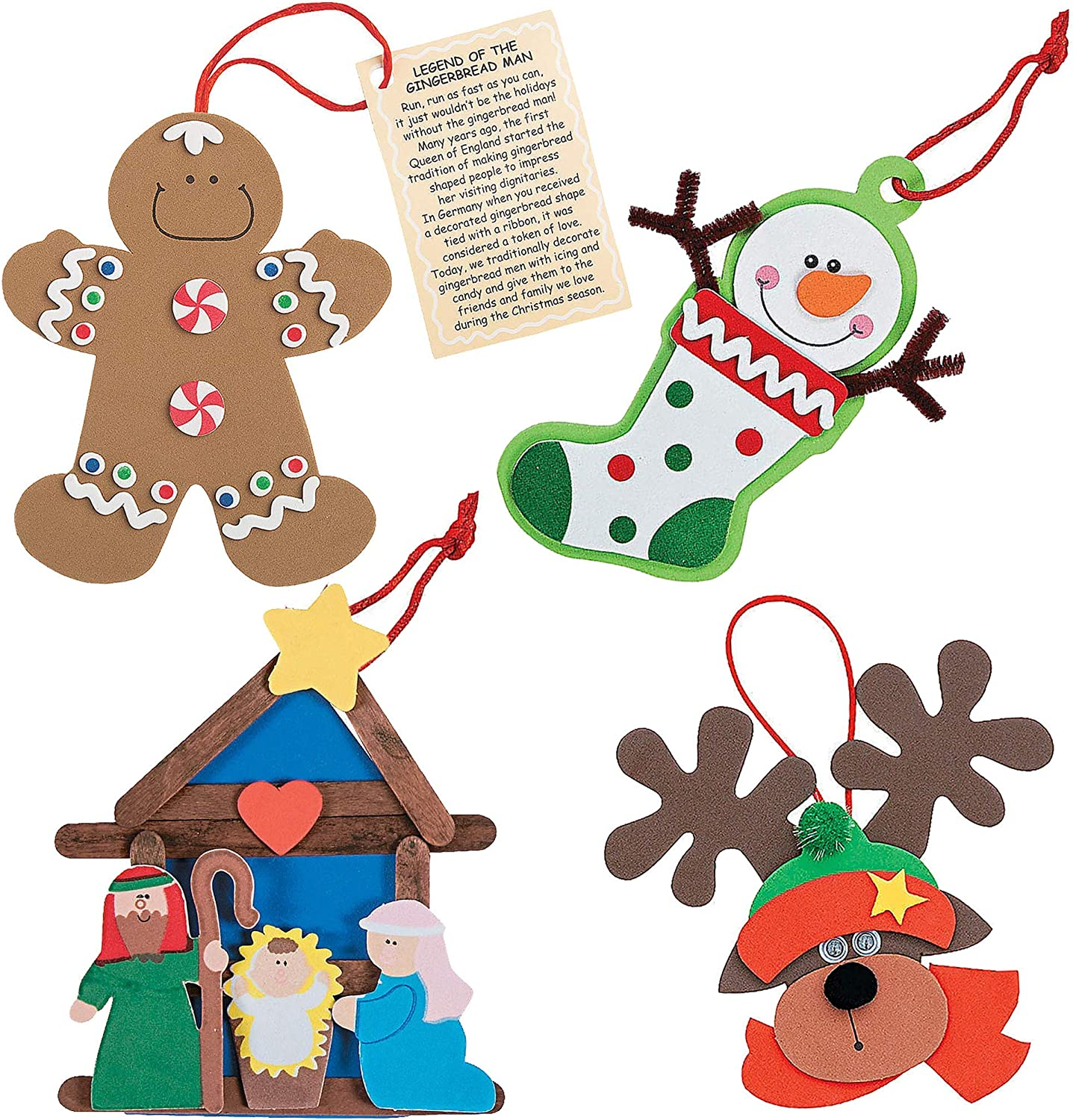 Christmas Crafts Ornaments Foam Crafts Kit For Kids (Set of 4) Gingerbread, Reindeer, Nativity, Snowman Stocking - Fun Holiday DIY Project Party Activities, Xmas Party Favors, Stocking Stuffers by 4E's Novelty