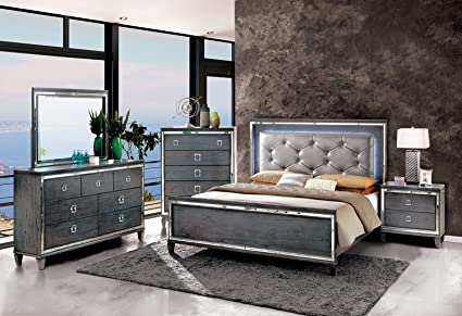 Clover Collection Contemporary Style Gray Finish LED Light Eastern King  Size Bed Classy 4pc Set Dresser