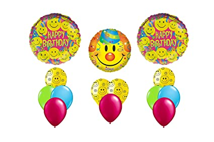 Image Unavailable Not Available For Color Emoji Happy Birthday Mylar Latex Smiley Balloon Bouquet