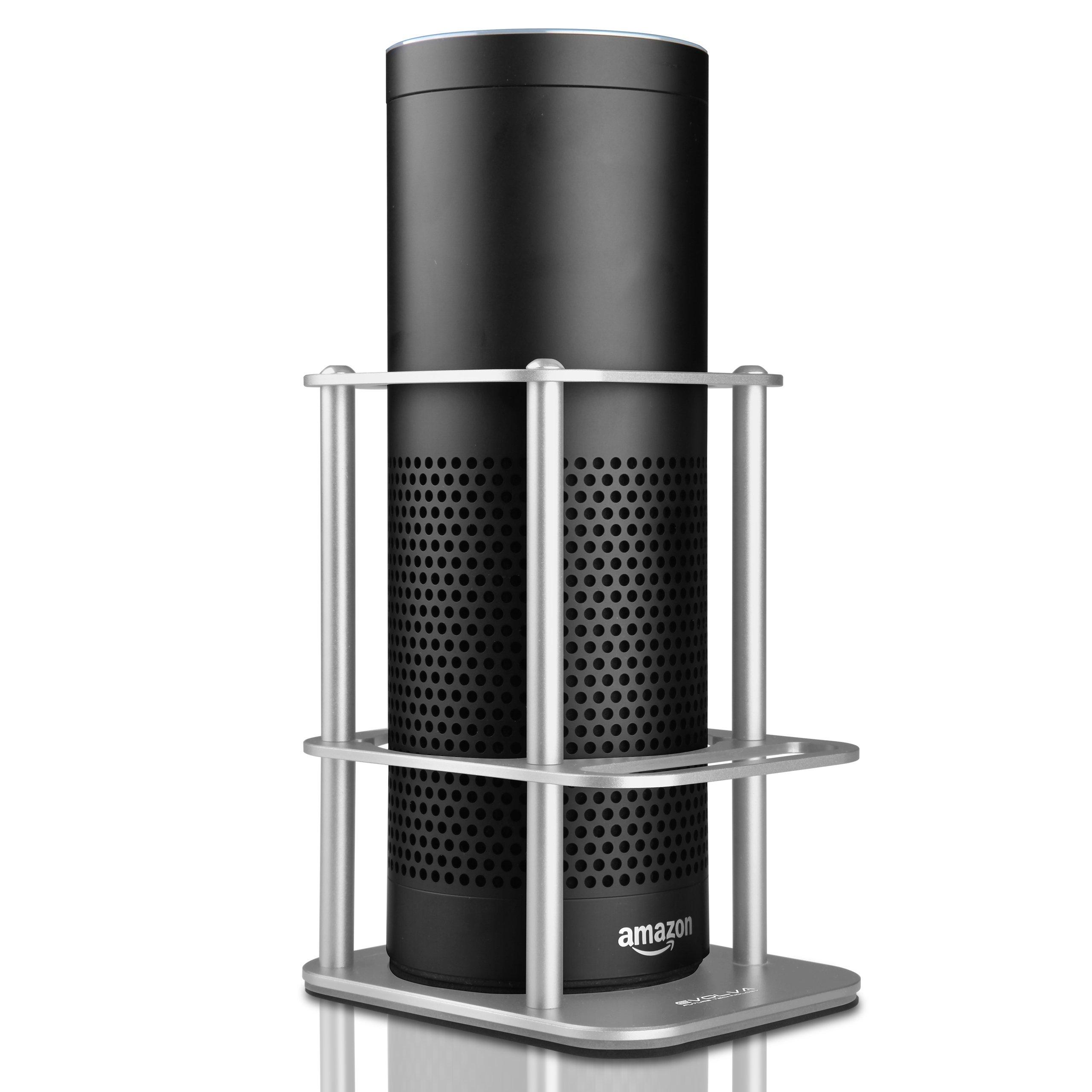 Aluminium Speaker Guard, Sturdy and High Quality, Evolva Future Technology Speaker Stand For Amazon Echo and UE MEGABOOM, Safe Guard Holder for your Alexa, Pen, Alexa Remote, Mobile Phone(Signature Silver)