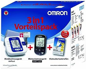 Omron 3 en 1 sangre Azúcar y tensiómetro de ventaja Pack con tiras de prueba: Amazon.es: Salud y cuidado personal