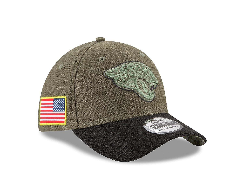89398b2ffad Amazon.com   Jacksonville Jaguars New Era 2017 Salute To Service 39THIRTY  Flex Hat - Olive   Sports   Outdoors