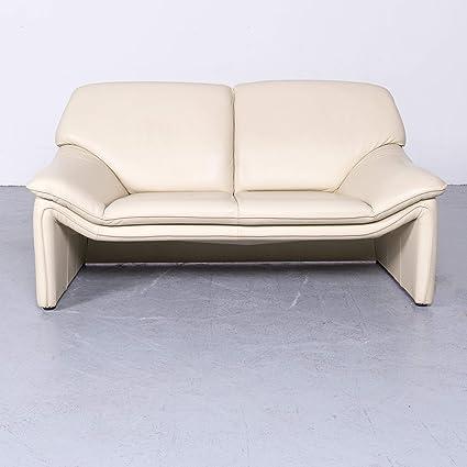 Laauser Atlanta Designer Leder Sofa Creme Echtleder Zweisitzer Couch