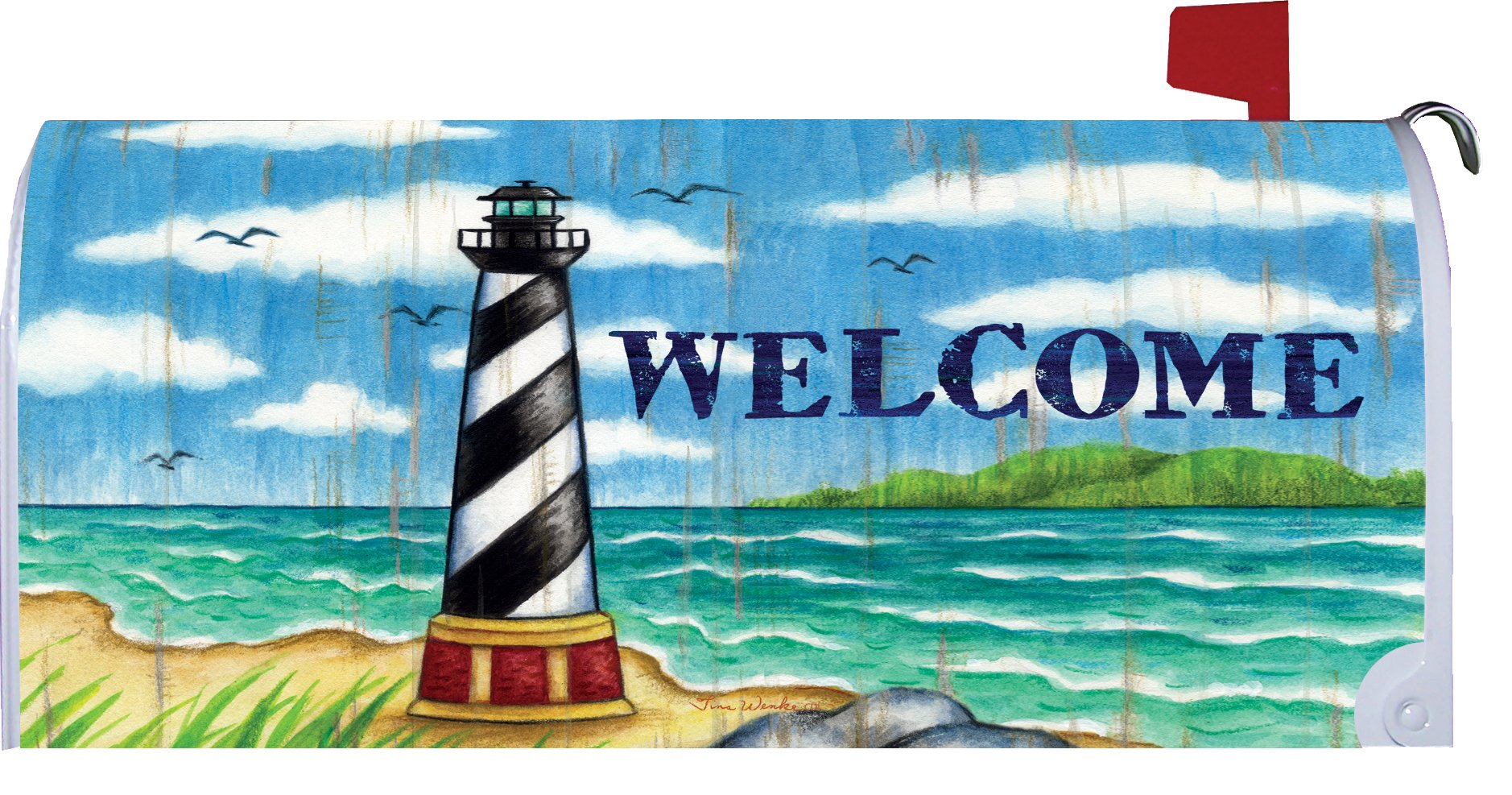 Hatteras Welcome - Mailbox Makeover - Vinyl with Magnetic Strips - Licensed, Copyrighted and Made in the USA by Custom Decor Inc.