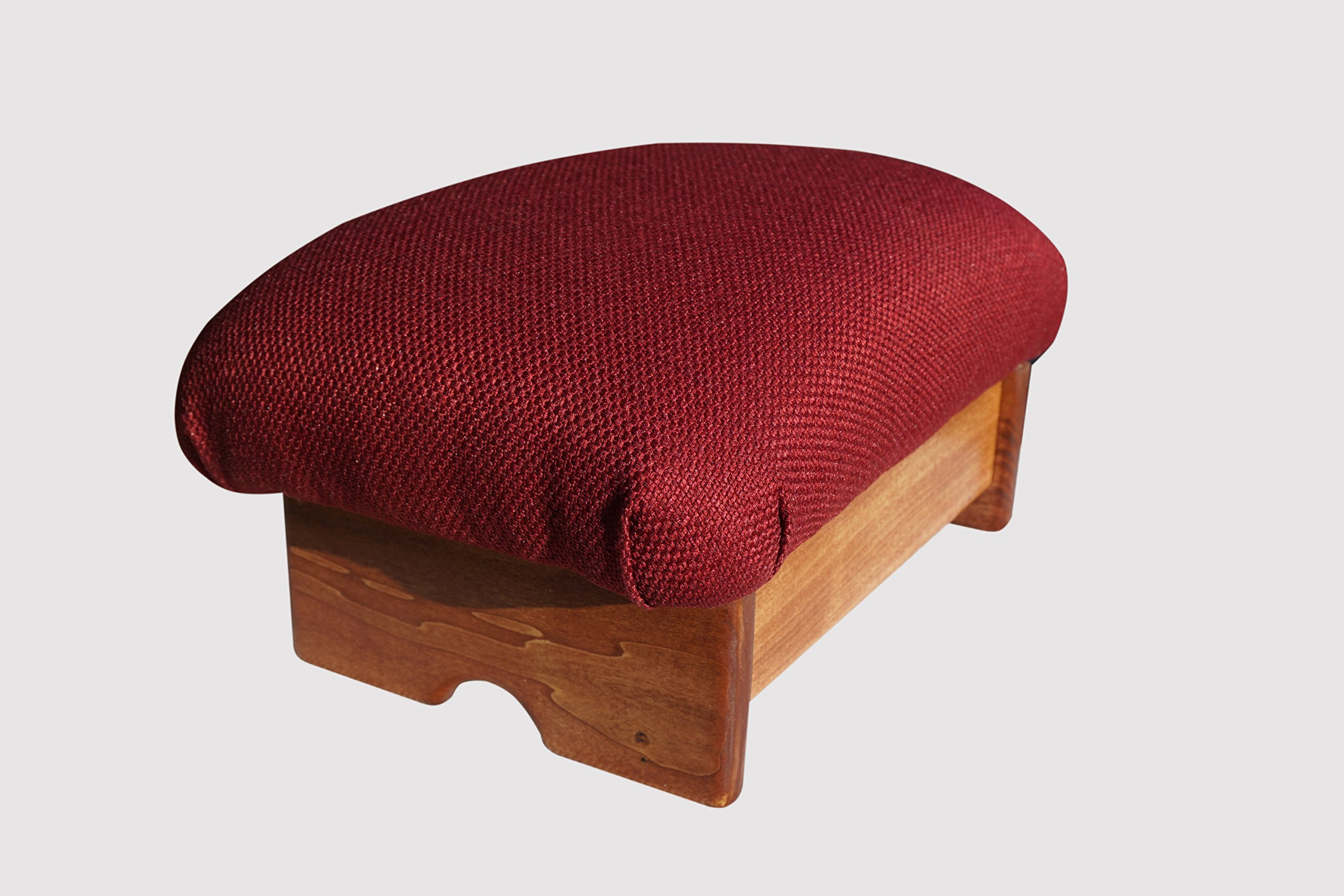 Padded Foot Stool, 7'' Tall, Red Mahogany Stain (Made in the USA) (Burgundy - 7'') by KR Ideas
