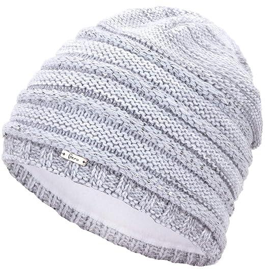 CHILLOUTS Lynn Hat Damen Beanie Mütze in Grau Melange Wintermütze Teddy Fleece