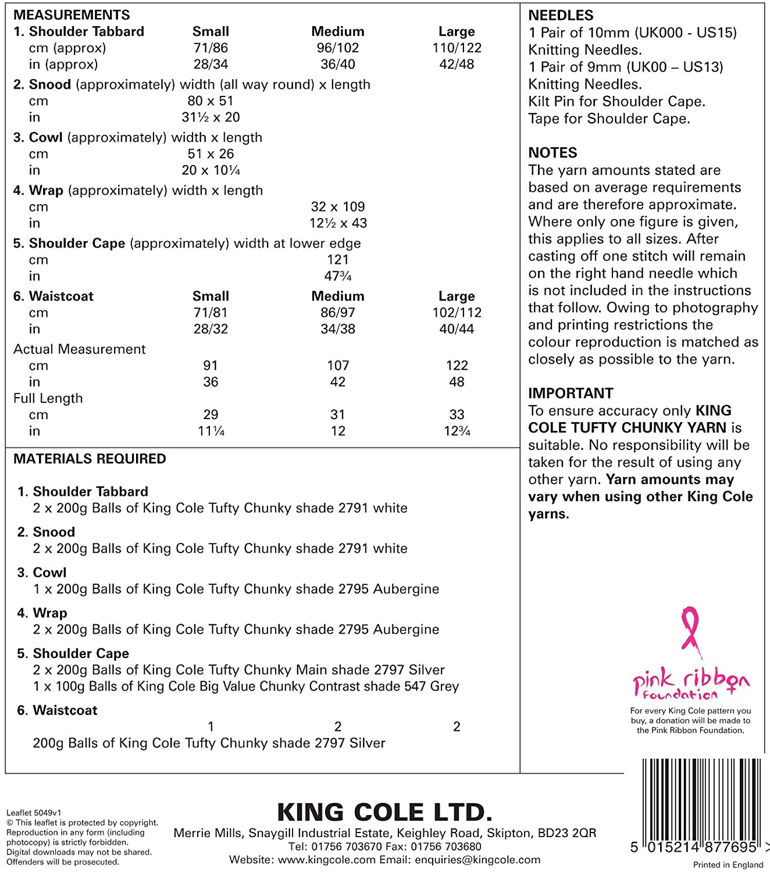 King Cole Tufty Chunky patrón para tejer para mujer fácil de punto ...