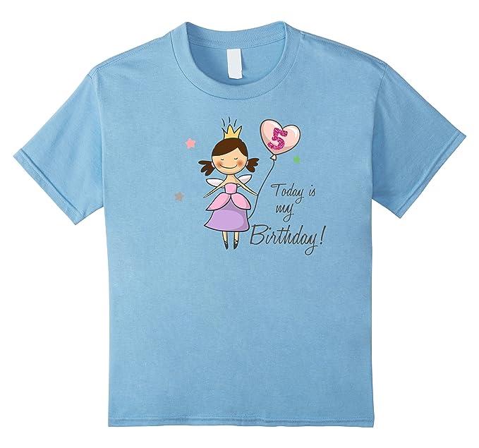 Kids 5th Birthday Shirt Girl Fairy Novelty 4 Baby Blue