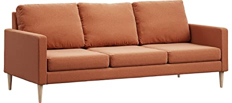 Campaign 86-Inch Steel Frame Brushed Weave Sofa, Mojave Orange with Solid Natural Maple Legs