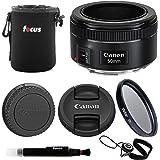 Canon EF 50mm f/1.8 STM Lens Bundle with Lens Pouch + 49mm UV Filter + Lens C...