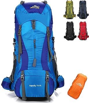 onyorhan 70L+5L Mochila Viaje Trekking Excursionismo Senderismo Alpinismo Escalada Camping Hombre Mujer (Azul
