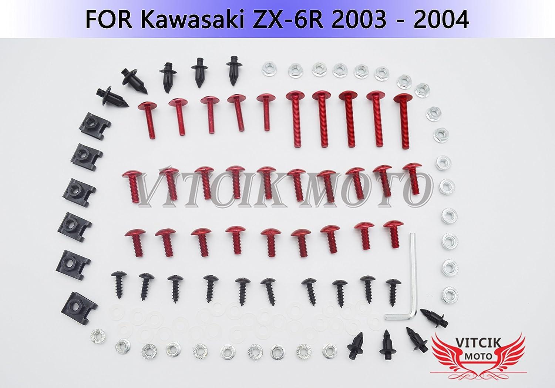 VITCIK Kit Completo de Tornillos y Pernos de Carenado para ZX6R ZX-6R Ninja 636 2003 2004 03 04 Clips de Sujeci/ón en Aluminio CNC de La Motocicleta Verde