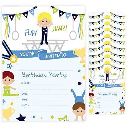 Gymnastics Boy Style 2 Happy Birthday Invitations Invite Cards 10 Count With Envelopes Boys Girls Kids Party 10ct