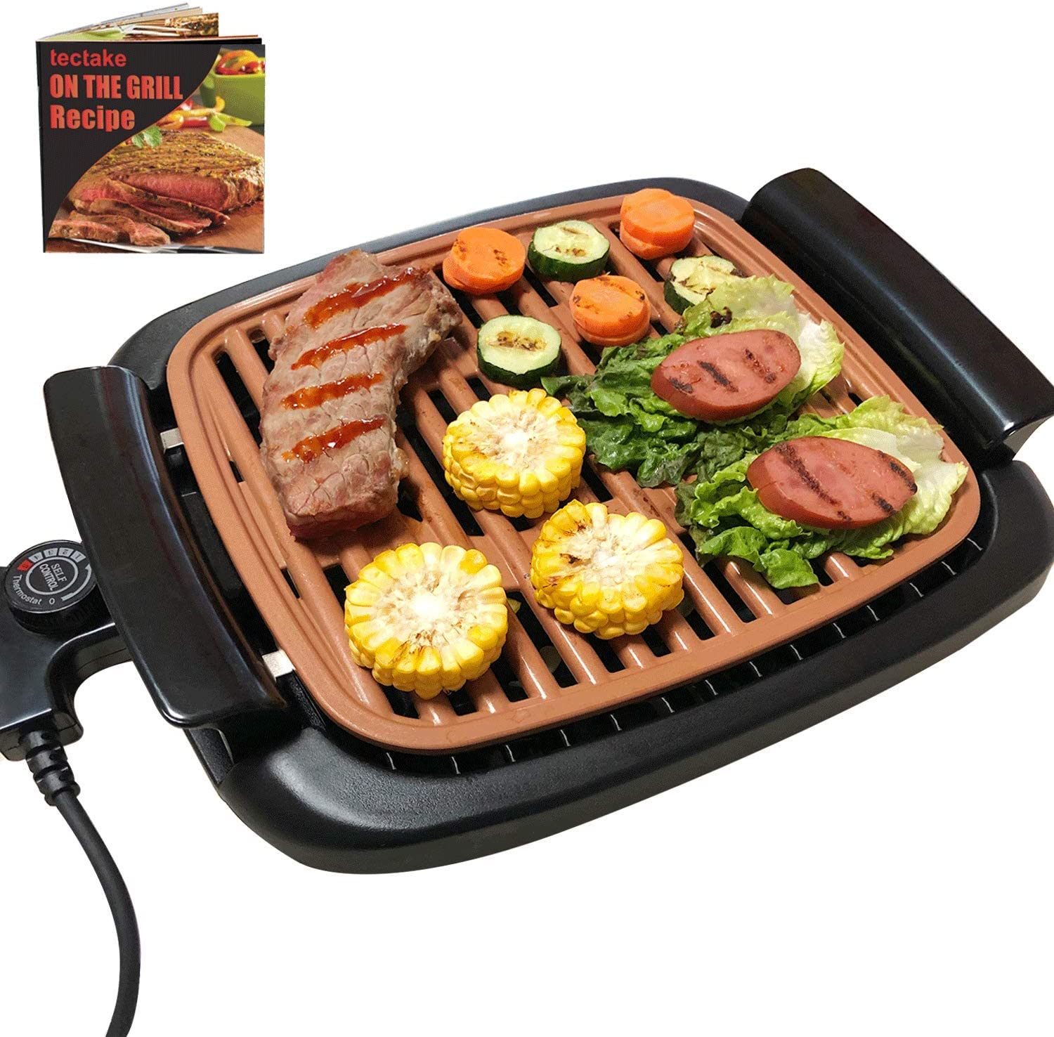"Korea Grill Indoor Removable - Electric Smokeless BBQ Griddle with Recipes, Adjustable Thermostat, 16"" x 11"" Large Nonstick Cooking Surfaces with Oil Drip Tray, Copper Tabletop Grills"