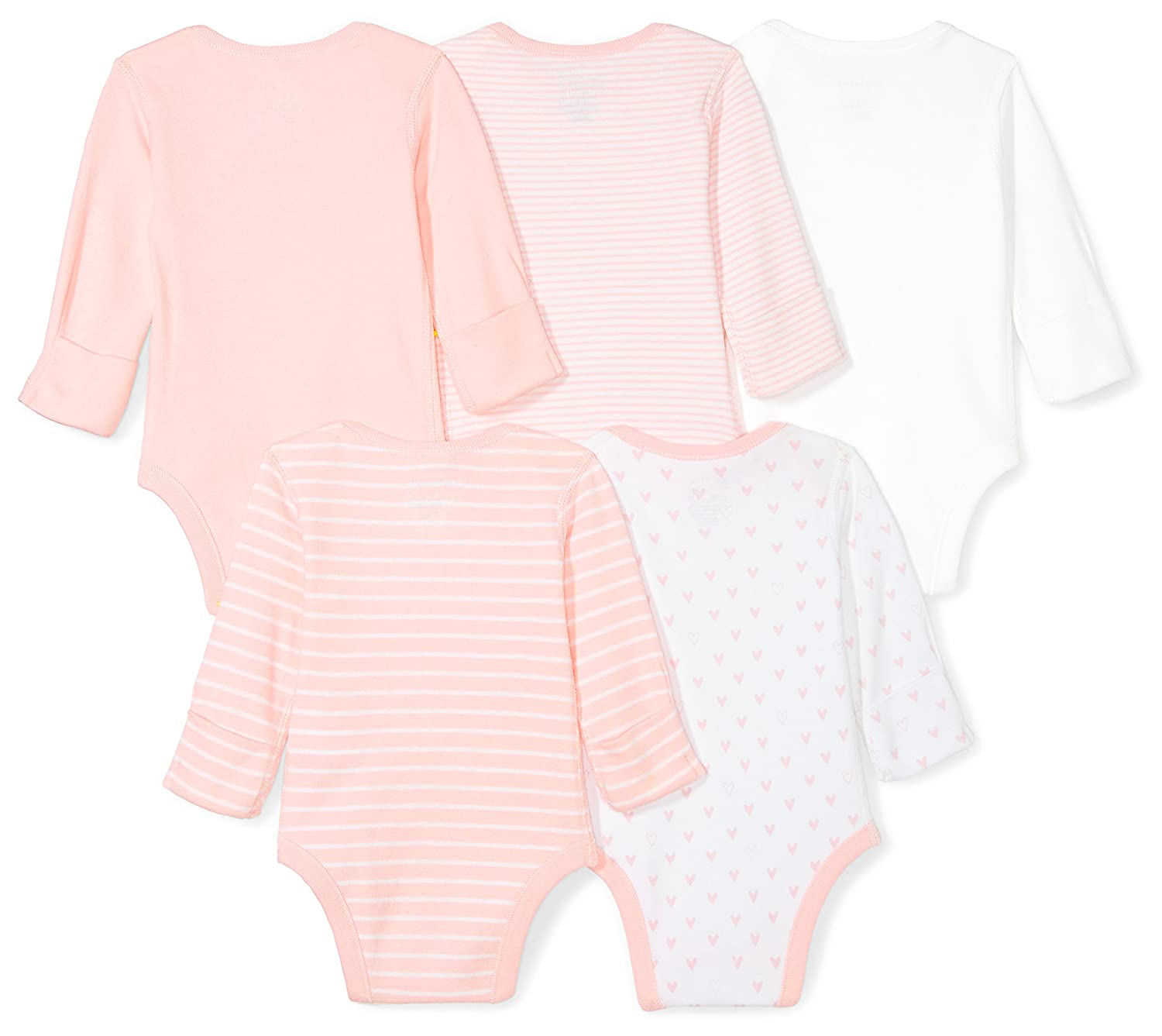 Pink Blush Moon and Back Baby Set of 5 Organic Long-Sleeve Bodysuits 6-9 Months