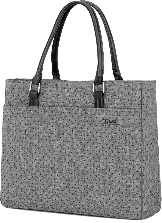 Laptop Tote Bag, DTBG 15.6 Inch Women Shoulder Bag For 15-15.6 Inch (Grey+Black Dot)