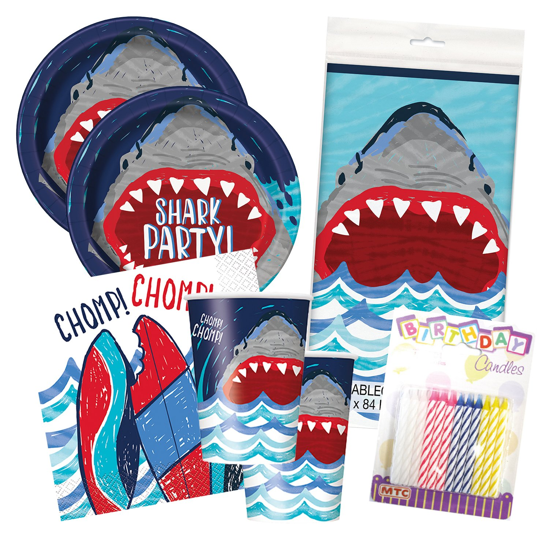 Shark Party Birthday Celebration Tableware Deluxe Bundle Plates Napkins Serves 16