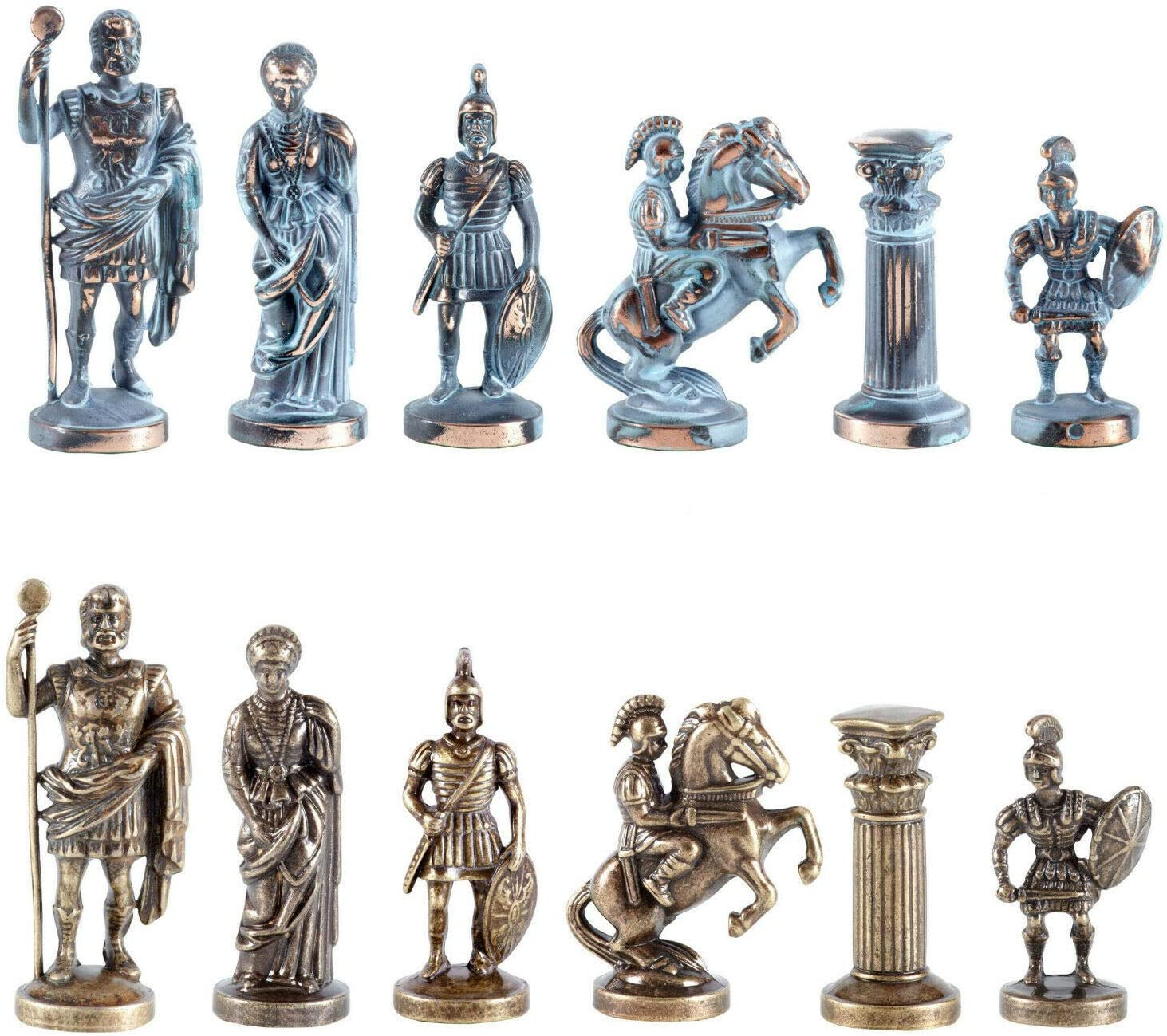 Manopoulos Greek Roman Army Chess Set Blue/&Copper with Blue Board