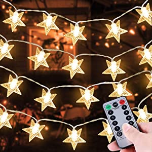 TURNMEON 33 Ft 100 LED Stars String Lights with Timer, Waterproof Star Fairy Lights 8 Modes Remote Control Christmas String Lights Decoration Fairy Lights for Bedroom Home Party Decor(Warm White)